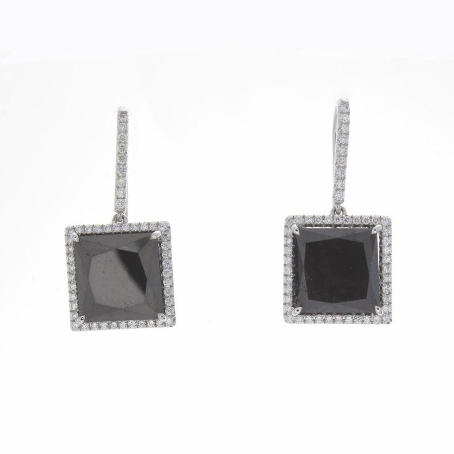 Square Black Diamond Earrings
