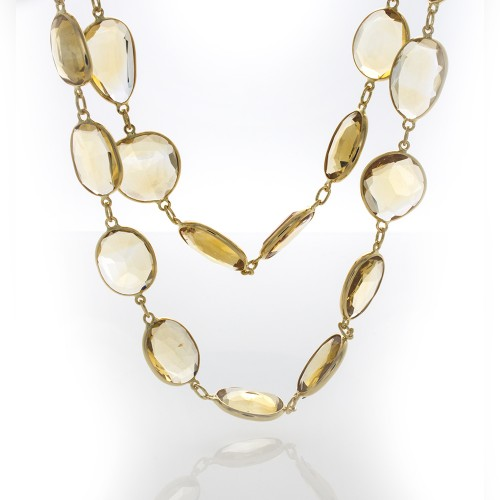 CITRINE YELLOW GOLD NECKLACE