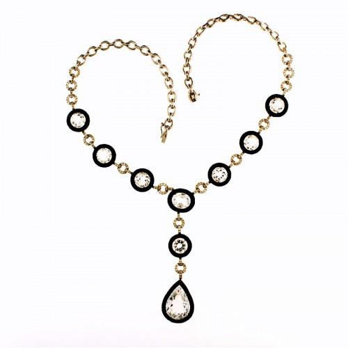 BLACK DIAMOND & CRYSTAL NECKLACE
