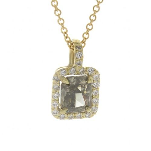 FANCY GREENISH GRAY RADIANT CUT DIAMOND 1.06 CT