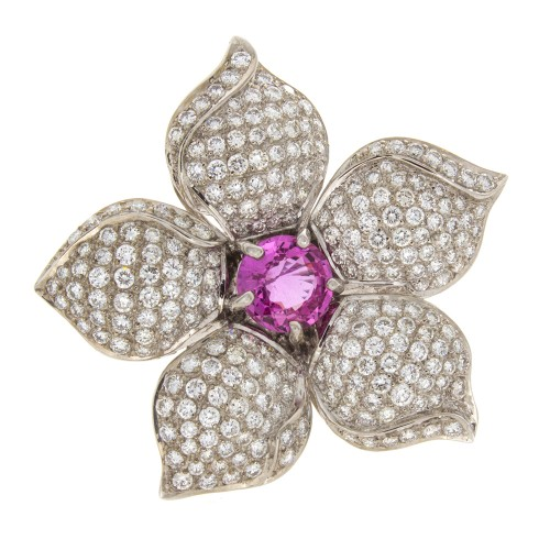 FLOWER PIN WITH PINK SAPPHIRE CENTER