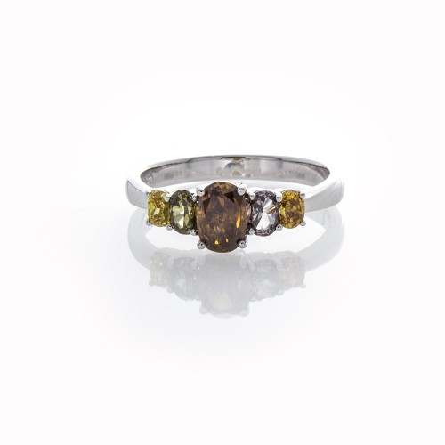 OVAL FANCY COLOR 5-STONE RING