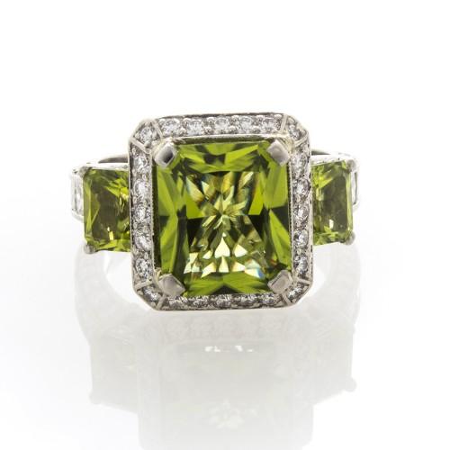 RADIANT CUT PERIDOT & DIAMOND RING