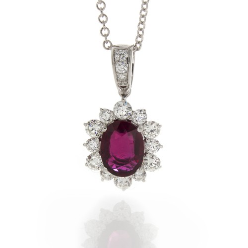 OVAL RUBY WITH DIAMOND PENDANT