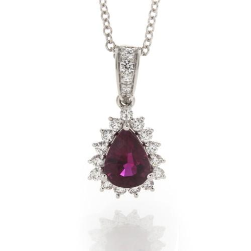 PEAR SHAPE RUBY WITH DIAMOND PENDANT