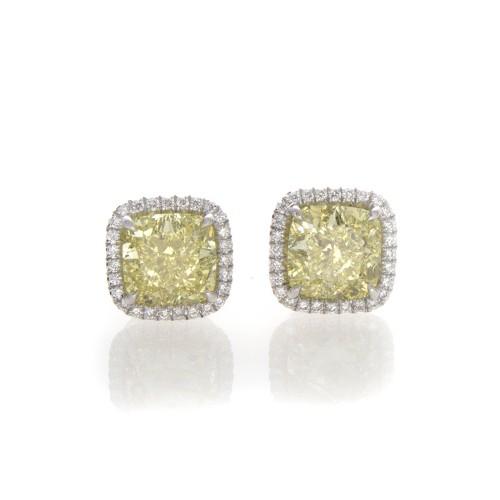 YELLOW CUSHION CUT DIAMONDS 3.46 CT
