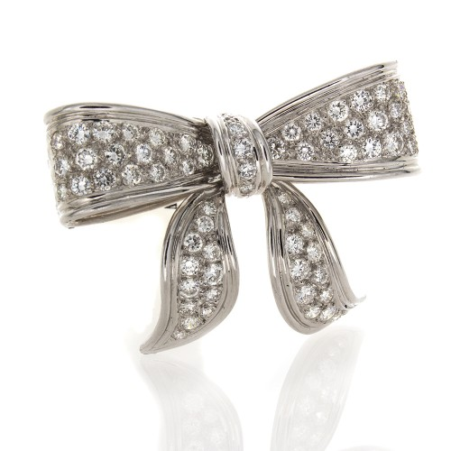 PLATINUM AND DIAMOND BOW PIN