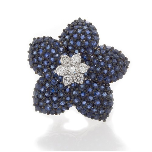 SAPPHIRE FLORAL PIN