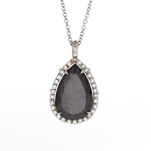 PEAR SHAPE BLACK DIAMOND 5.08 CTS