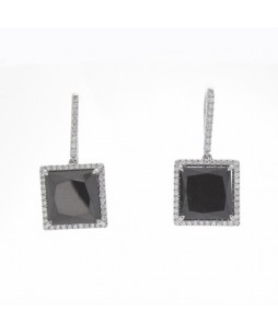 SQUARE BLACK DIAMOND EARRINGS