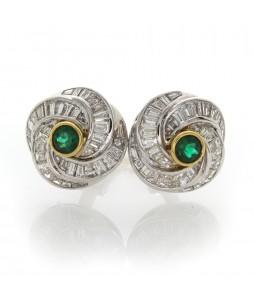 EMERALD & BAGUETTE DIAMOND EARRINGS