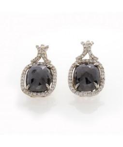CUSHION BLACK DIAMOND EARRINGS