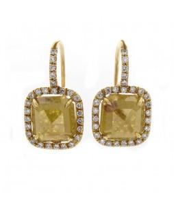 SQUARE YELLOW ROSECUT DIAMONDS 5.23 CTS