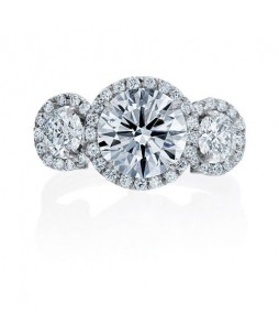 3-STONE HALO BRILLIANT DIAMOND RING