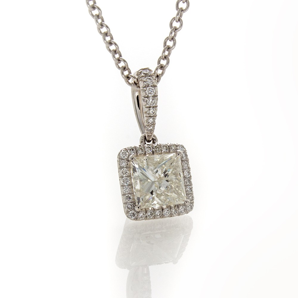 marshall princess pierce company cut diamond halo carat pendant jewelry chicago fine product