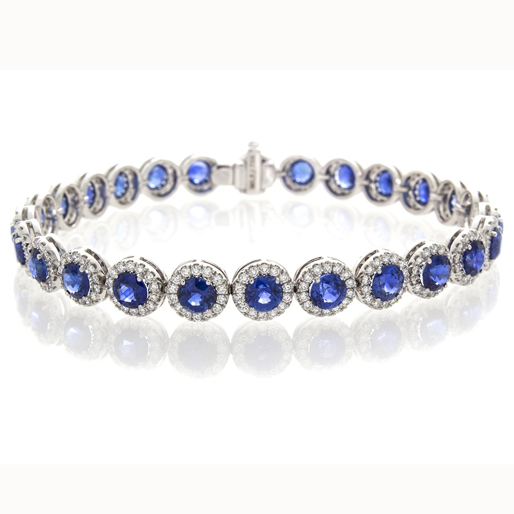 blue half index prong diamond bracelet tennis bangle bead bangles white gold