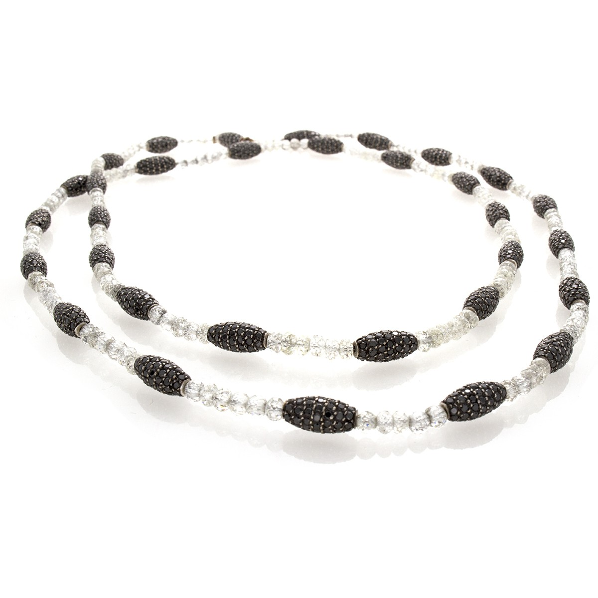 Beaded Diamond: DIAMOND BEADS AND BLACK DIAMOND NECKLACE