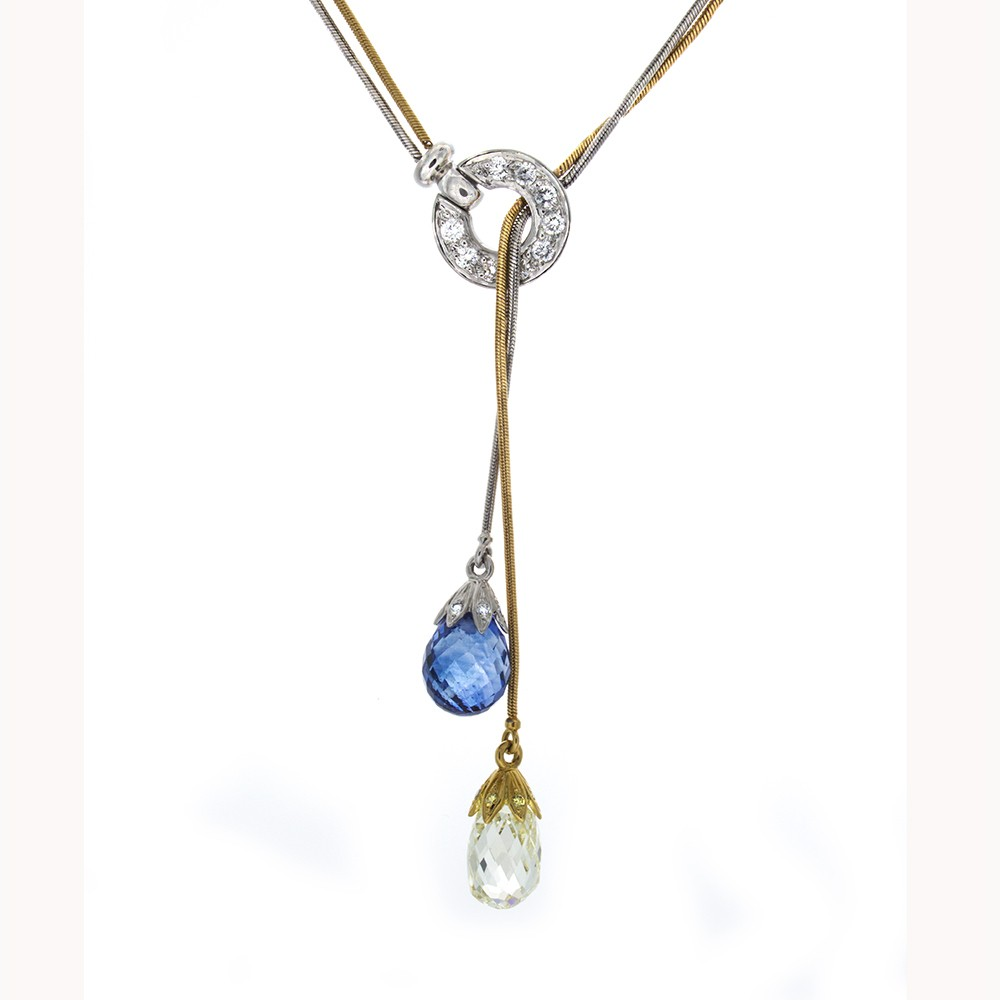 img image of locked diamond briolette product necklace love