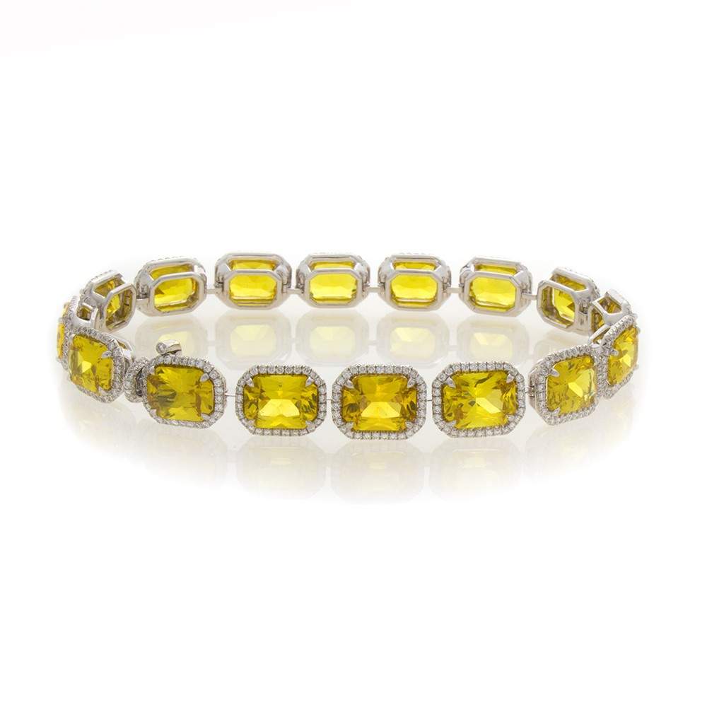 bracelet diamond yellow sapphire and salon