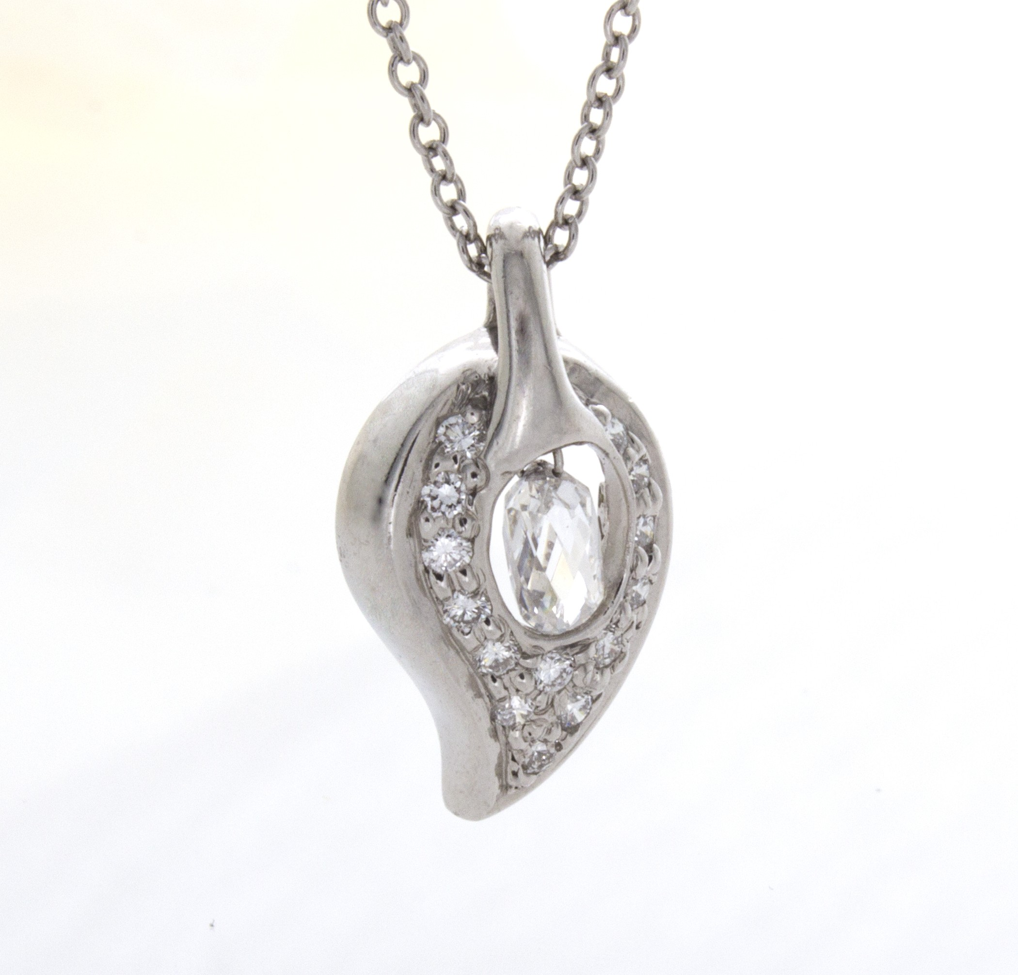 swarovski products silver crystals made briolette pendant with sterling necklace