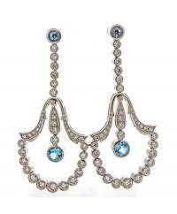 AQUA AND DIAMOND EARRINGS