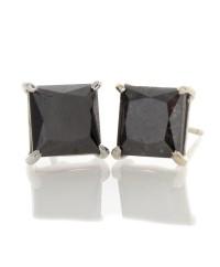 PRINCESS CUT BLACE DIAMOND EARRINGS