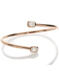EMERALD CUT DIAMOND PINK GOLD BANGLE