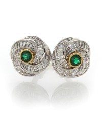 EMERALD & BAGUETTE DIAMOND EARRINGS