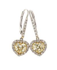 LIGHT YELLOW HEART SHAPE DIAMONDS 1.52 CTS