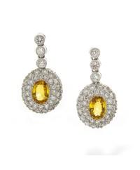 YELLOW SAPPHIRE AND DIAMOND EARRINGS