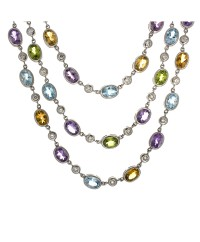 PRECIOUS STONE WHITE GOLD NECKLACE