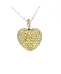 SMALL YELLOW SAPPHIRE PUFFY HEART