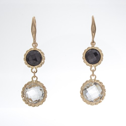 BLACK SPINEL/WHITE TOPAZ EARRINGS