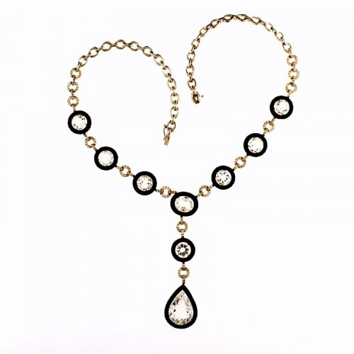 BLACK DIAMOND & CRYSTAL NECKLACE