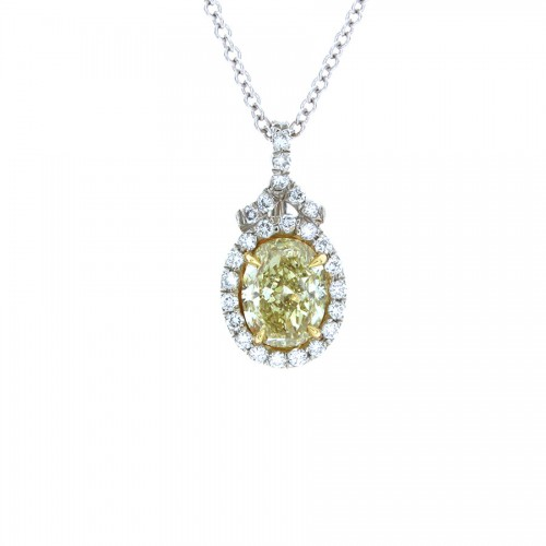 LT YELLOW OVAL DIAMOND PENDANT