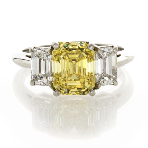 FANCY YELLOW EMERALD CUT 2.63 CT