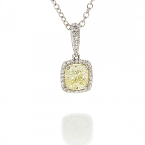 FANCY YELLOW CUSHION CUT 1.20 CT