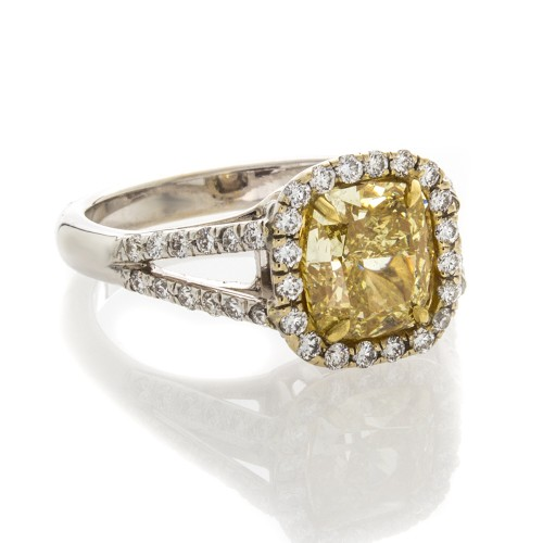 FANCY INTENSE YELLOW CUSHION CUT 2.05 CT
