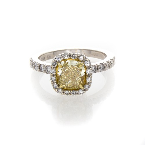 FANCY LIGHT YELLOW CUSHION CUT 1.53 CT