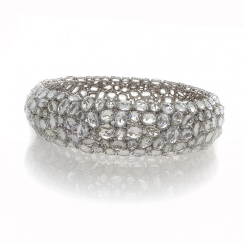 WHITE SAPPHIRE AND DIAMOND BANGLE