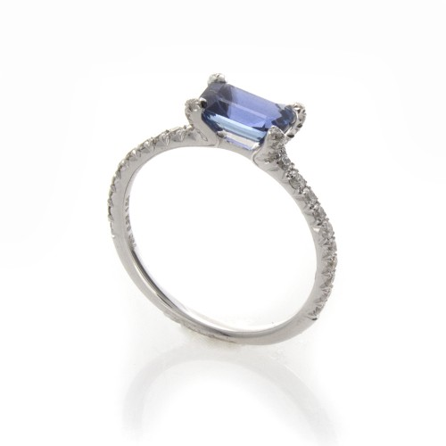 EMERALD CUT SAPPHIRE EAST WEST RING