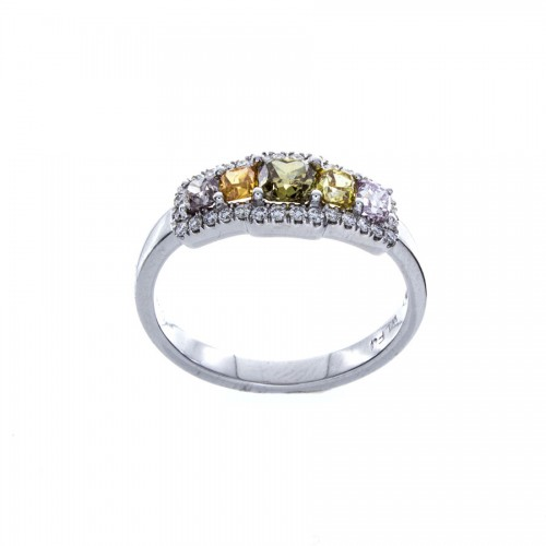 FIVE STONE COLORED DIAMOND RING
