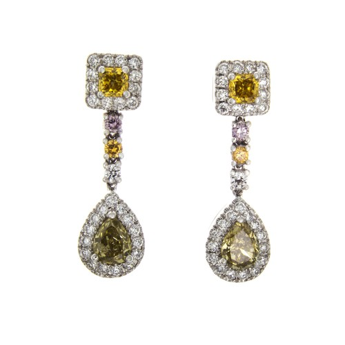 FANCY COLOR DIAMOND EARRINGS