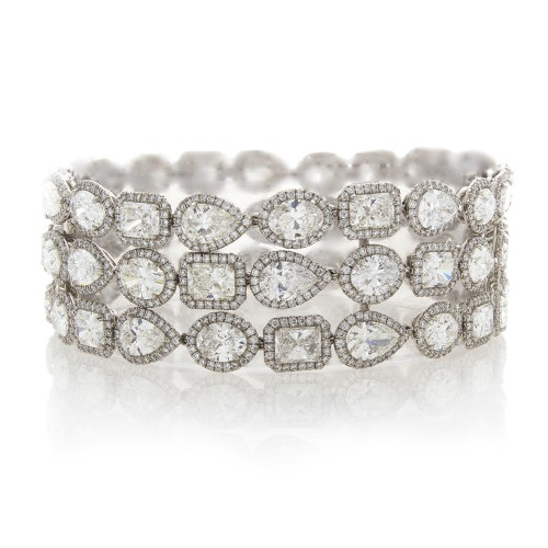 FANCY SHAPE DIAMOND 3-ROW BRACELET