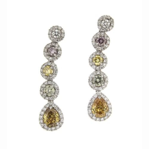 FANCY SHAPE & COLOR DIAMOND EARRINGS