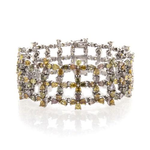 PEAR SHAPE FANCY COLOR DIAMOND BRACELET