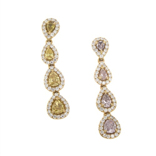 PINK AND YELLOW DIAMOND EARRINGS