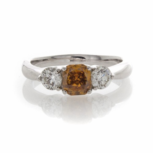 CUSHION ORANGEY-BROWN DIAMOND .54 CT