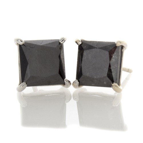 PRINCESS CUT BLACE DIAMOND EARRINGS