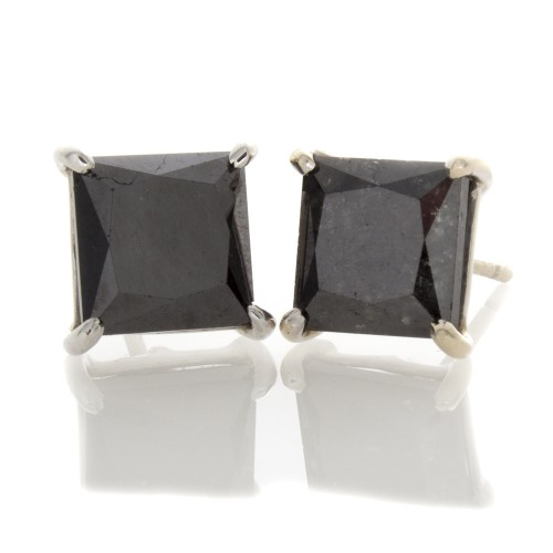 PRINCESS CUT BLACK DIAMOND EARRINGS